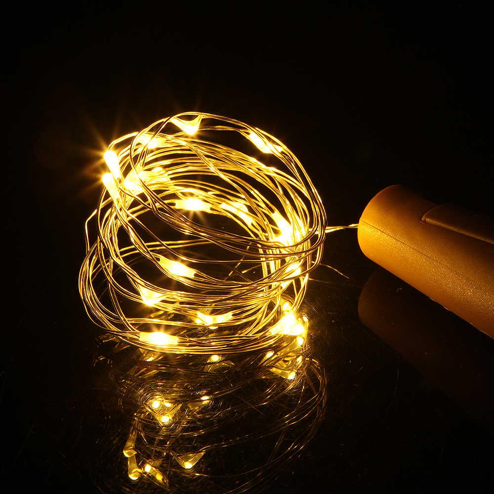 บ้านตกแต่งไฟ 1M 2M Corker ทองแดงลวด Garland คริสต์มาสไฟ Fairy สำหรับขวดหัตถกรรมแก้วตกแต่ง