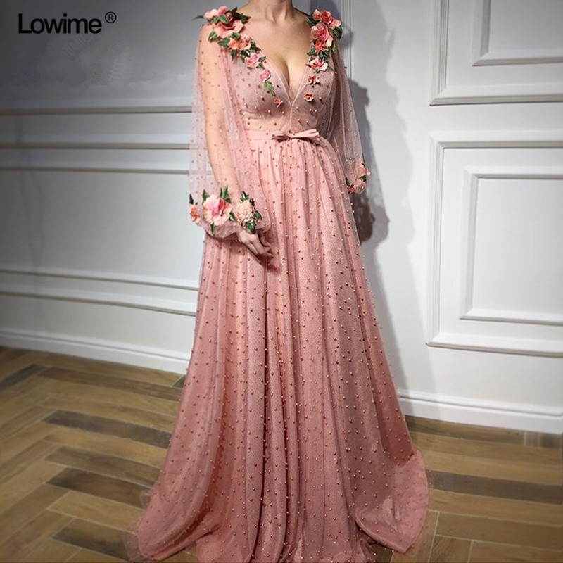 Newest Fairy Pink Long Evening Dresses 2019 With Pearls And 3D Flowers Tulle Puff Sleeve Deep V Neck Evening Celebrity Gowns