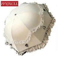 Fashion Three Dimensional Lace UV Sunscreen Vinyl Parasol Umbrella Princess Seasons Vaulted Triple Umbrella Brand Women