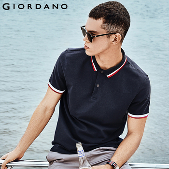 Giordano homme Slim Polo piqué extensible Polo chemise hommes rayures côtelé col hauts manches courtes t-shirt Camisa Masculina