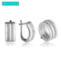 MECHOSEN Luxury Ceramic Jewelry Sets Earrings Rings White Black Keramisch Five Aros Soft Copper Aretes Parure