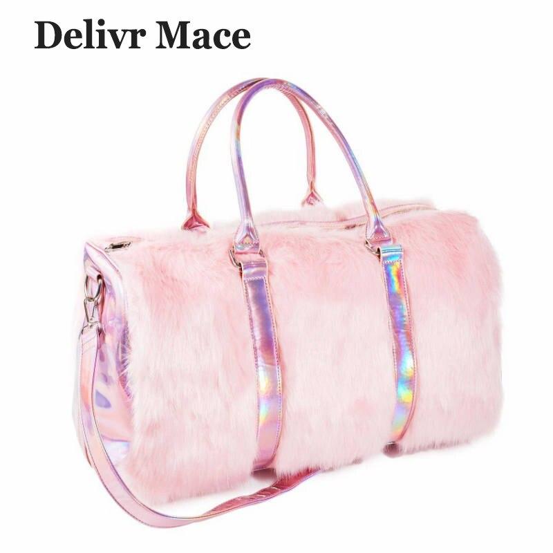 Grand fourre-tout pour femmes 2018 peluche rose Sac de voyage mignon dames sacs à bandoulière grande femme sacs à Main Sac a Main Sac fourre-tout pour femmes