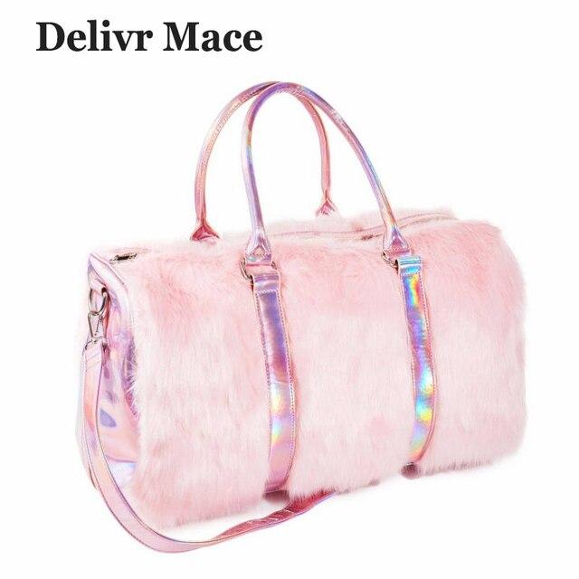 455d336ba011 Large Tote Bags For Women 2018 Plush Pink Cute Travel Bag Ladies Shoulder  Bags Big Female