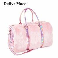 Large Tote Bags For Women 2018 Plush Pink Cute Travel Bag Ladies Shoulder Bags Big Female Handbags Sac a Main Women's Totes Bag
