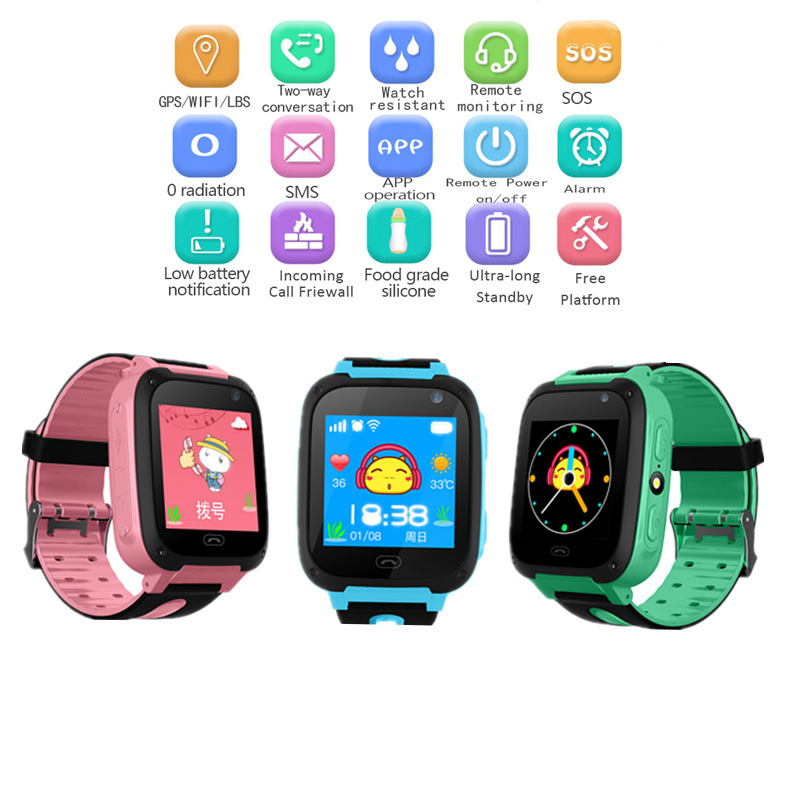 WISHDOIT Positioning Children Security Anti lost Smart Watch With Camera Kid Lighting SOS For IOS Android watches