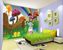 Senior home large mural wallpaper ji cartoon rainbow sky mushroom children background wall papel de parede 3d