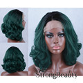 Dark Green Ombre Lace Front Wig Medium length Curly Synthesis Heat Resistant Fiber Fashion Wigs Free shipping