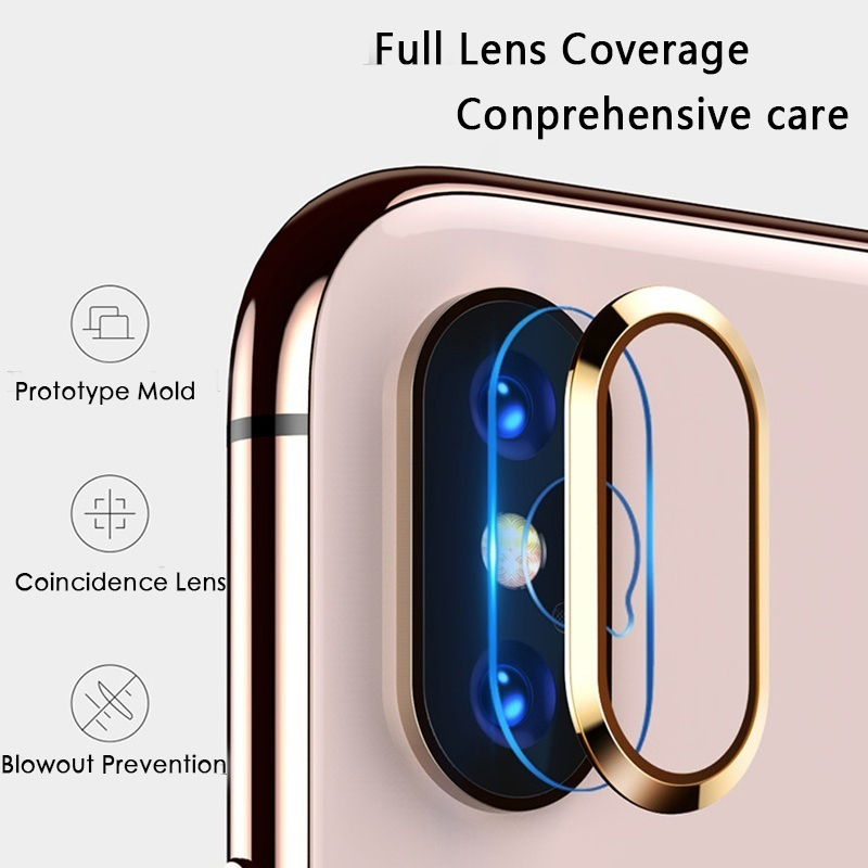 Metal Camera Lens Protective Ring + Lens Protector 6D Transparent Tempered Glass Film For IPhone 6 6s Plus 7 8 Plus X XR XS Max