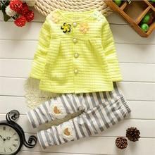 Spring Autumn Kids Clothes Floral Long Sleeve Girls Kid Sets Princess Style Stripe Fashion Baby Set