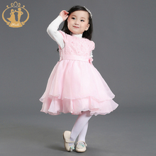 Costume Dress Princess for Wedding Party Ball Gown Flower Chiffon Embroidery Organza Cute Baby Girl Clothes 2016 Autumn Winter