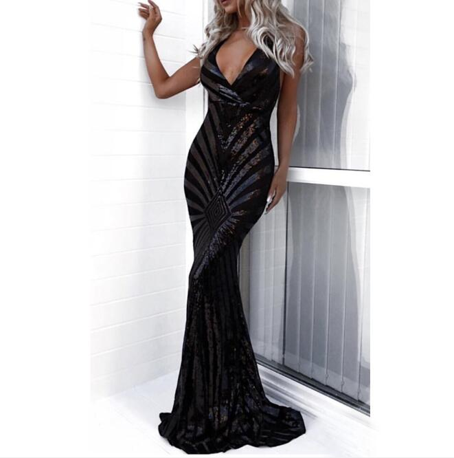 Sexy V-Neck Backless Black Sequined Long Prom Dresses Mermaid 2019 Spaghetti Straps Maxi Women Formal Evening Party Dress Cheap