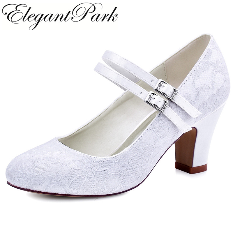 HC1701 Shoes Woman Wedding Bridal Chuck Heel White Ivory Closed Toe Comfort Mary Jane Lace Bride Lady Bridesmaid Prom Party Pump