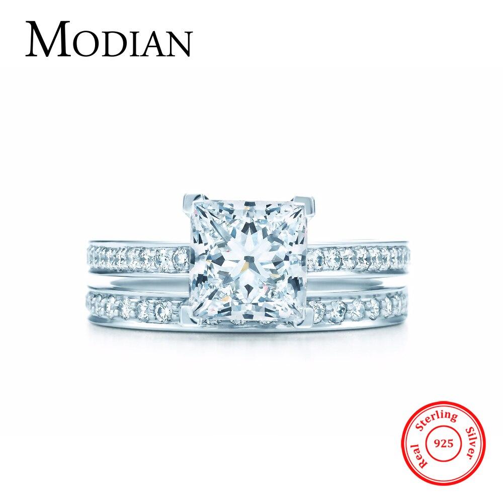2017 Nouveau Arc-En-Jewel réel 925 en argent sterling de mariage bague de fiançailles bijoux fasion AAAAA 2Ct zircon anneaux de mariage pour les femmes