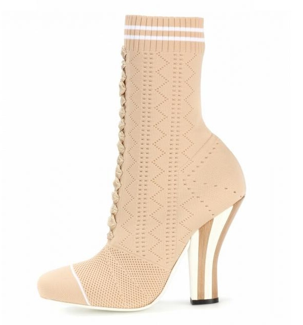 2018 Hot Selling High Heels Woman Socks Ankle Boots Beige Knit Ladies Booties Plus Size Cone Heels Stretch Ankle Boots Womens inc new black crochet knit scoop neck womens size xl stretch bodycon dress $179