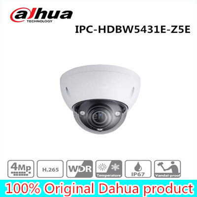 Free Shipping DAHUA Security IP Camera CCTV 4MP WDR IR Dome Network Camera IP67 IK10 With POE+ Without Logo IPC-HDBW5431E-Z5E free shipping dahua security cctv ip camera 5mp wdr ir mini bullet camera with poe ip67 no logo ipc hfw1531s