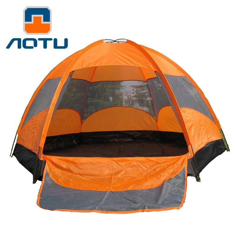 Randonnée imperméable à l'eau en plein air Camping tente approvisionnement 8 personnes à deux niveaux At8206 pression tente en plastique