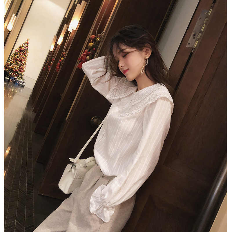 MISHOW 2019 herfst sweety blouse nieuwe mode causale ruche mouw kant Boog hals single-breasted witte blouse tops MX18D4515