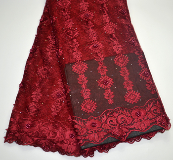 Latest Nigerian Tulle Lace Fabric African Lace Fabric For Nigeria Wedding Maroon Embroidery Tulle Lace Fabric