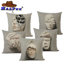 Art pattern cushion cover flax home sofa decoration pillow cojines 45x45cm single-sided double-sided Almofada Best seller