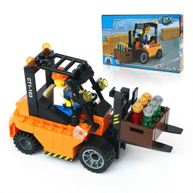 Enlighten Toys 115pcs Small Particles DIY Forklift Truck Building Blocks Kids Educational Toy Christmas Gift