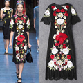 High Quality 2016 Summer And Autumn New Fashion Catwalk Heavy Embroidery Slim Round Neck Sleeve Stretch Lace Dress Women