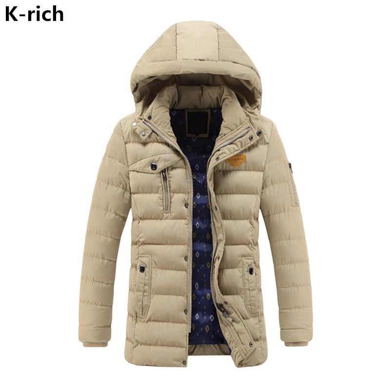 K-rich 2017 Coat Winter Jacket Men Fashion Solid Hooded Warm Slim Man Jacket Long Style Parka Coats L-3XL Plus Size boglioli k jacket пиджак