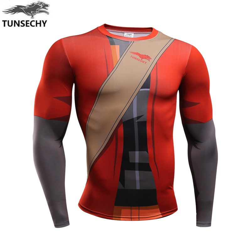 Brand New naruto 2017 armor Fitness Compression will tshirt Men seen Superman Bodybuilding Long Sleeve 3 d T Shirt Crossfit Tops