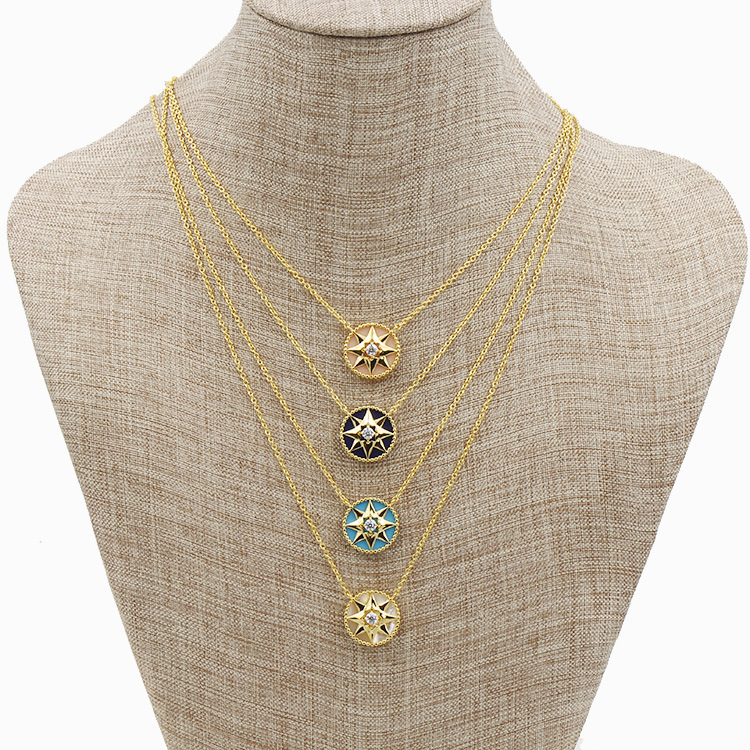 High Quality Hot Exquisite Copper Plated Shells and Synthetic Stone Star Plate Drilling Necklace 4 Colors high quality and hot sale100