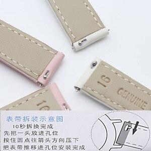 Image 5 - Bracelet en cuir véritable or rose, 14mm 15mm 16mm 17mm 18mm 19mm 20mm, bracelet de montre, rose, bleu et gris, livraison gratuite pour montres pour femmes