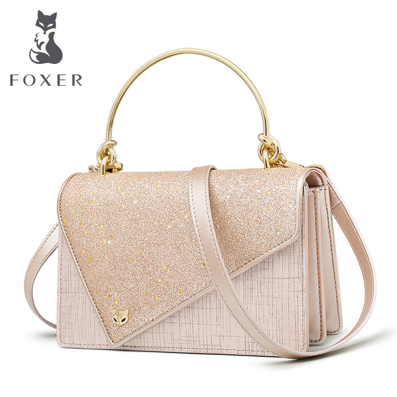 FOXER Flower Girl's Party Chic Shoulder Bags Women Dazzling Shine Evening Bags Lady Qualities Flap bags Female Messenger Bag