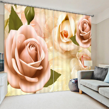 HD Colorful flowers 3D Blackout Luxury Curtains For Living room Bedding room Tapestry Wall Carpet Drapes Cotinas para sala