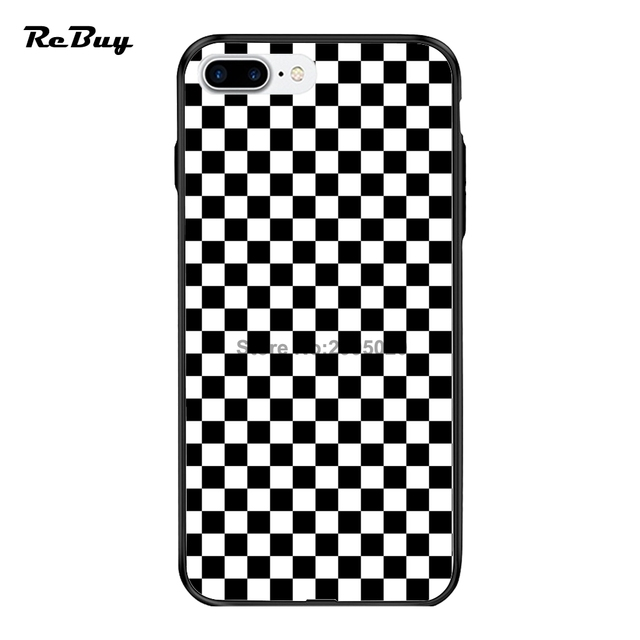 the latest f9f60 6e3f6 US $9.0 |Checkers Black & White Checkerboard for IPhone Cases 8 8Plus X  PC&TPU for Iphone 7/7plus Case Glaze Covers for Iphone 6/6s/6plus-in Fitted  ...