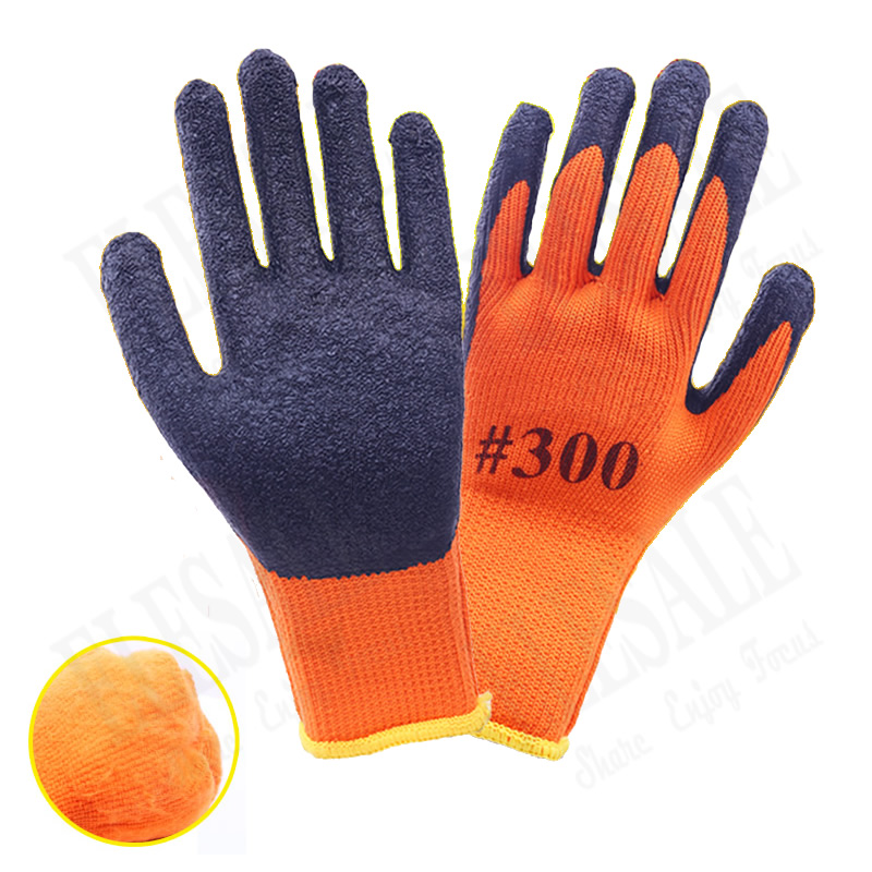 1 Pair Winter Warm Work Safety Gloves Palm With Latex Coated Anti-Skidding Anti-Cut Work Garden Repairing Thick Nylon Gloves 1 pair nylon pu palm coated protective safety work gloves garden grip builders