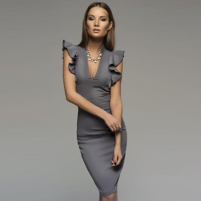 2018 Sommer Beliebten Sleeveless Rüschen Elegant Bodycon Frauen Tiefem V-ausschnitt Sexy Party Kleid Nachtclub Kleid Vestidos