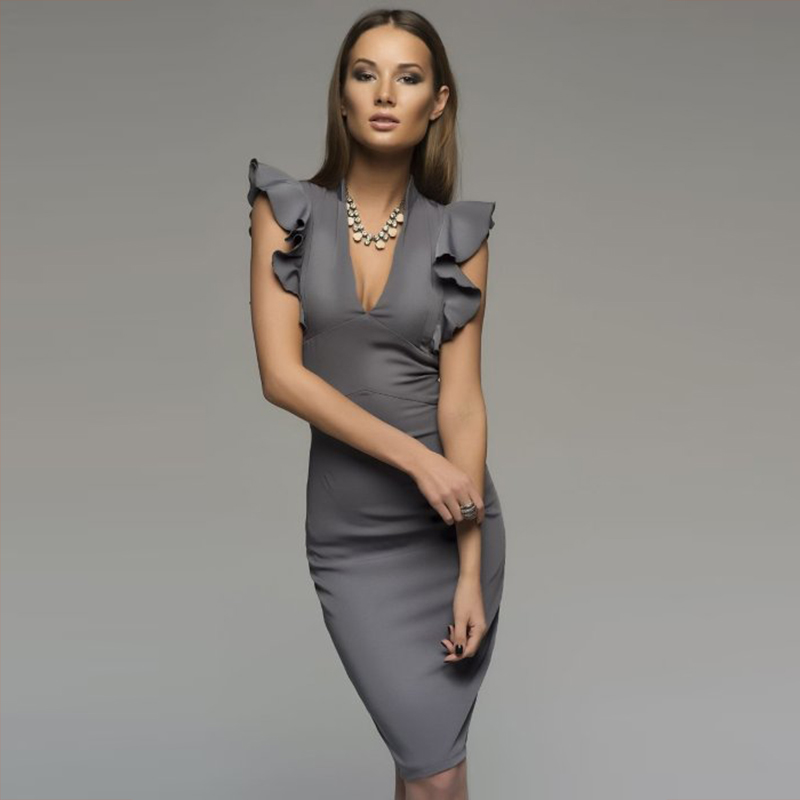 2018 Spring Summer Popular Sleeveless Ruffle Elegant Bodycon Women Deep V-Neck Sexy Party Dress Nightclub Dress Vestidos