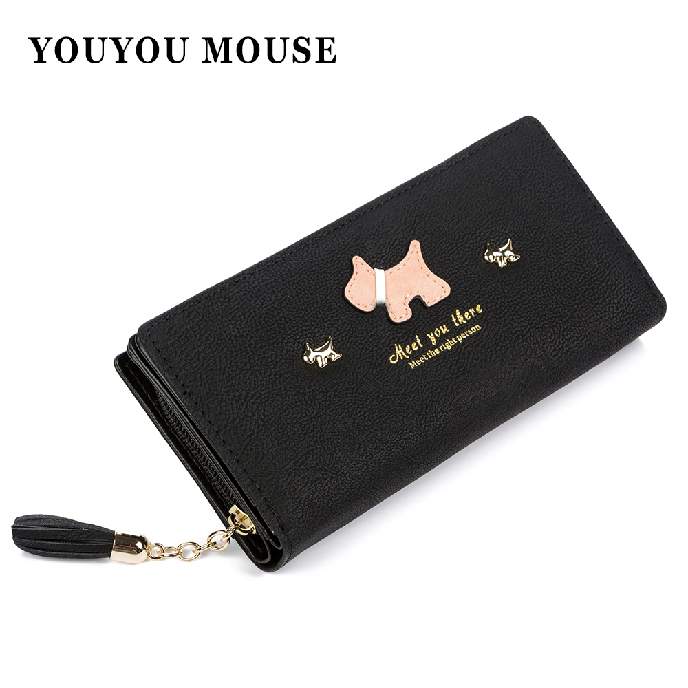 New Fashion Women Matte Leather Wallets Tassel Design Cute Puppy Phone Wallet Long 2 Folds Lady Clutch Coin Purse Card Holder 2017 new women wallets cute cartoon bear lady purse pu leather clutch wallet card holder fashion handbags drop shipping j442