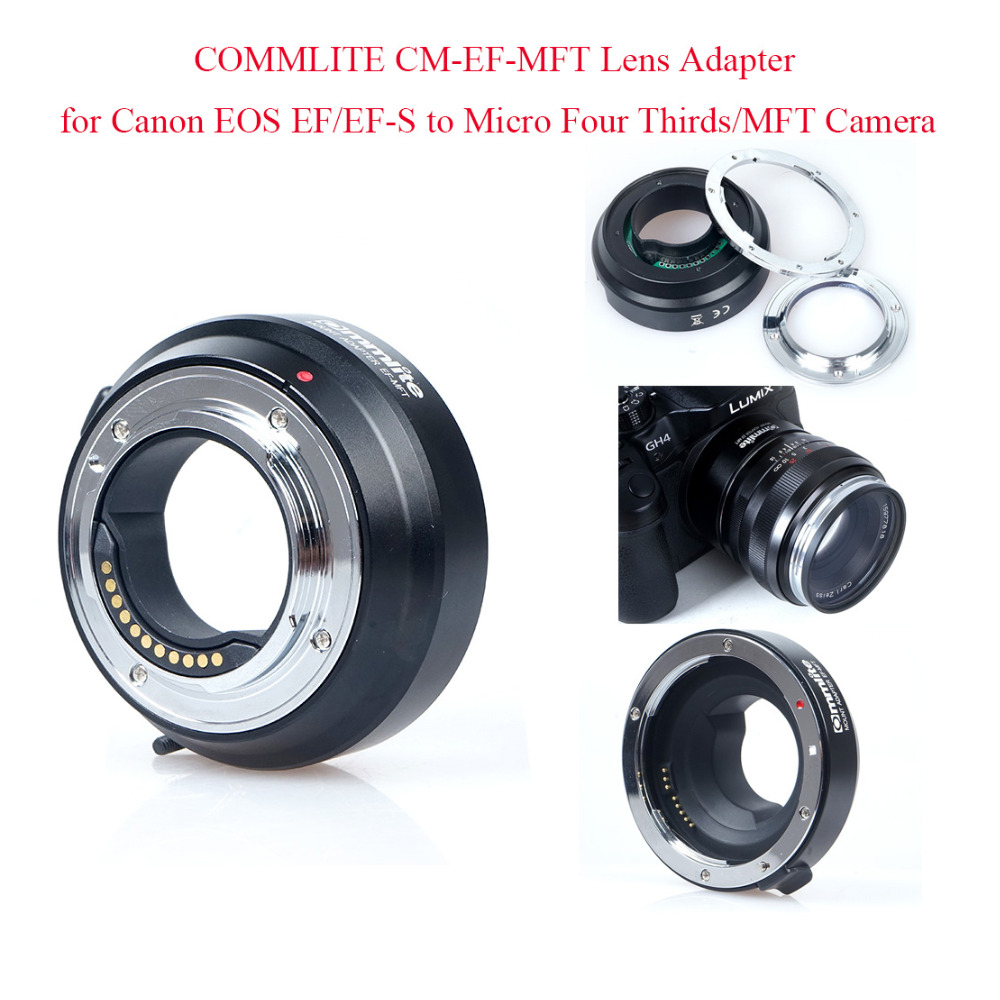 COMMLITE CM-EF-MFT Lens Adapter for Canon EOS EF/EF-S to Micro Four Thirds/MFT Camera Supports Electronic Auto Aperture Control недорго, оригинальная цена