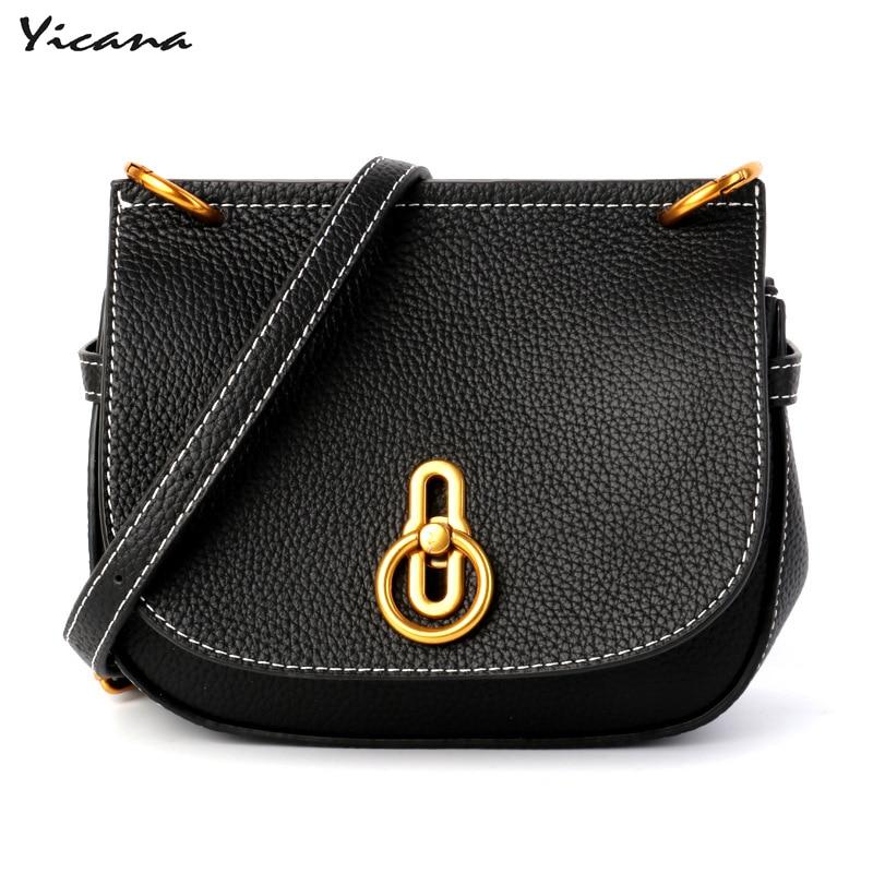 цена на Yicana 2018 100% genuine leather handbag popular shoulder messenger bag buckle handbag saddle bag multi-purpose ladies bag