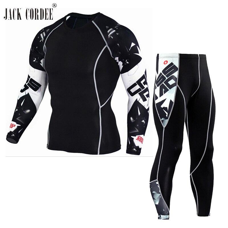 JACK CORDEE 3D Druck Männer Sets Compression Shirts + Leggings Basis schicht Crossfit Fitness Marke MMA Lange Hülse T-shirt Enge Tops