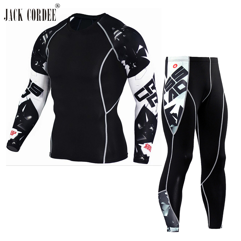 JACK CORDEE 3D Print Men Sets Compression Shirts + Leggings Base Layer Crossfit Fitness Brand MMA Long Sleeve T Shirt Tight Tops