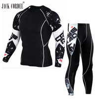 JACK CORDEE 3D Stampa Degli Uomini Set di Compressione Shirt + Leggings Base strato Crossfit Fitness Marca MMA Manica Lunga T Shirt Tops Stretti