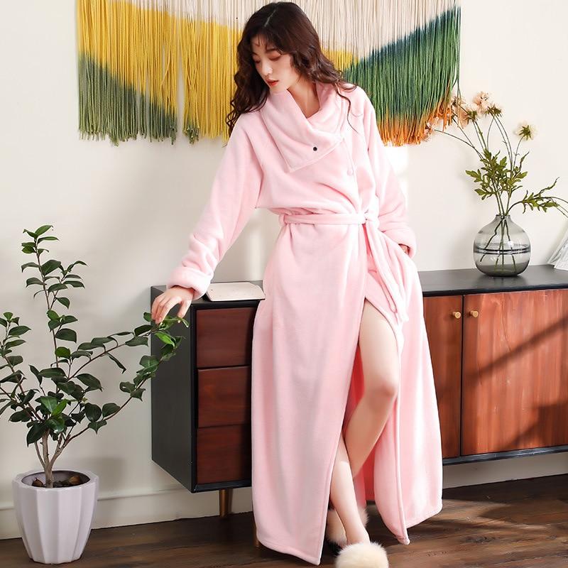 Image 2 - New Flannel Women Winter Bathrobe High Quality Long Thicken Warm Female Bath Robes High Collar Cardigan Home Dressing Gown-in Robes from Underwear & Sleepwears