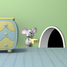 Funny Mouse Love Cheese 3D Hole Wall Stickers For Kids Rooms Diy Interesting Vinyl Art Decals Home Decoration A