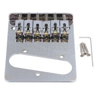 Yibuy Chrome Zinc Alloy Single Coil Pickup Style 6 String Electric Guitar Bridge With Wrench Screws