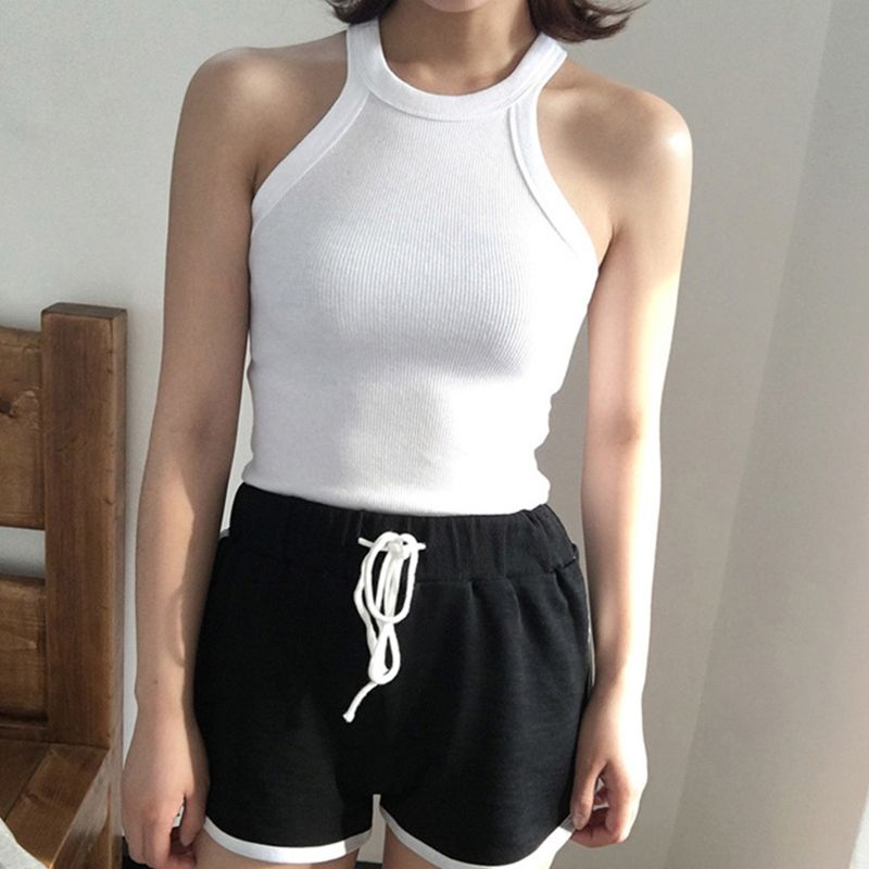 Women Summer Sleeveless Halter Round Neck   Tank     Top   Vintage Striped Thread Ribbed Knitted Camisole Basic Sports Tight Slim Vest