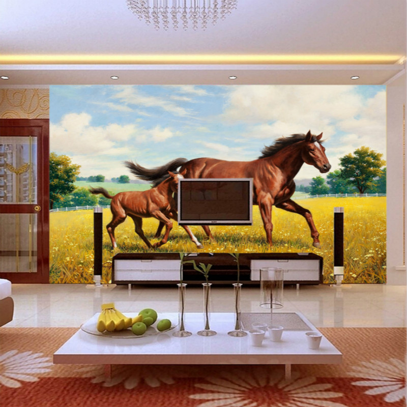 Free ShippingWallpaper Customized Wall Murals For Living Room Horse