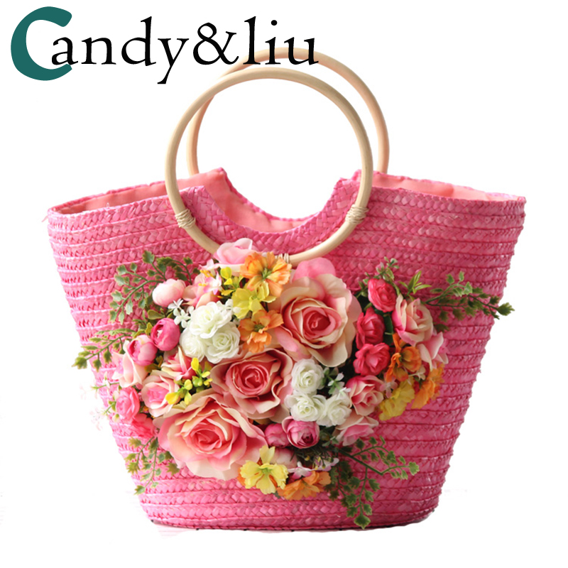 bags woman lady sweety style straw bag for trip travel on beach original design pink hat bag beach beach photo pink color chic elegant lady style bow lace up embellished folding soft straw hat for women
