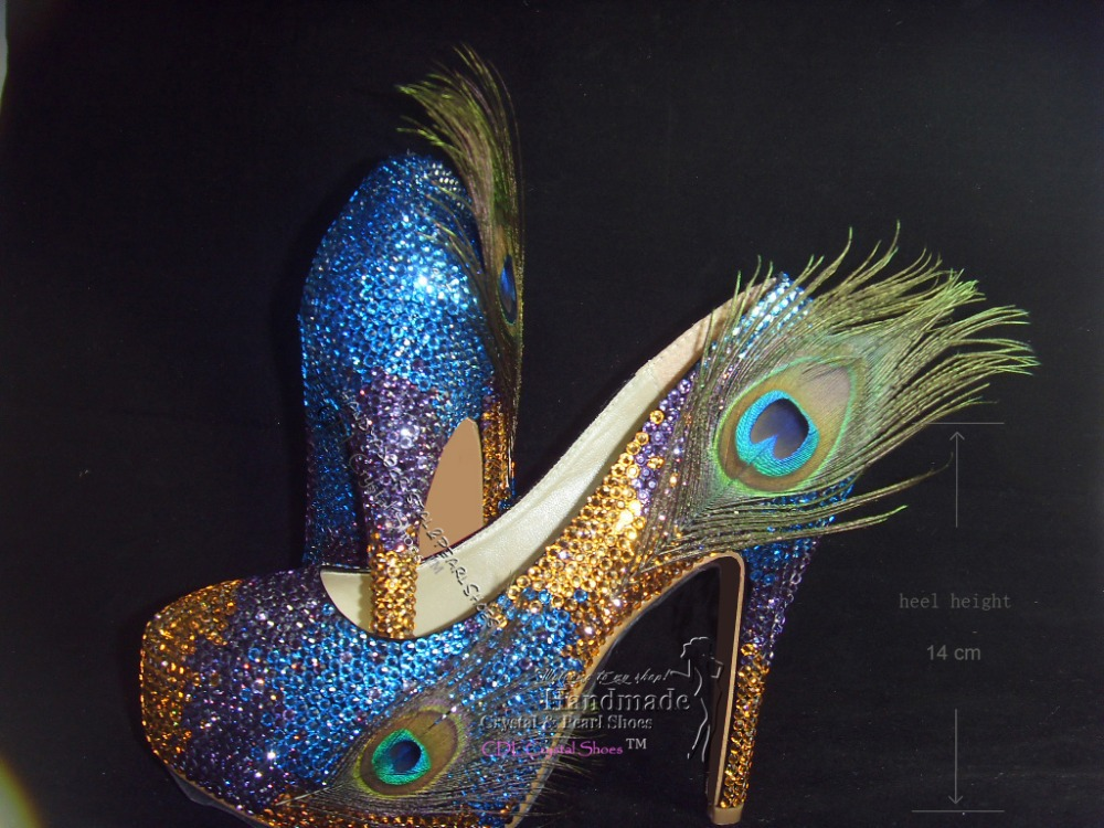 f1e4cd47eb3a sexy Customized Fashion Peacock Feather Platform Funky Wedding Bridal Shoes-in  Women s Pumps from Shoes on Aliexpress.com