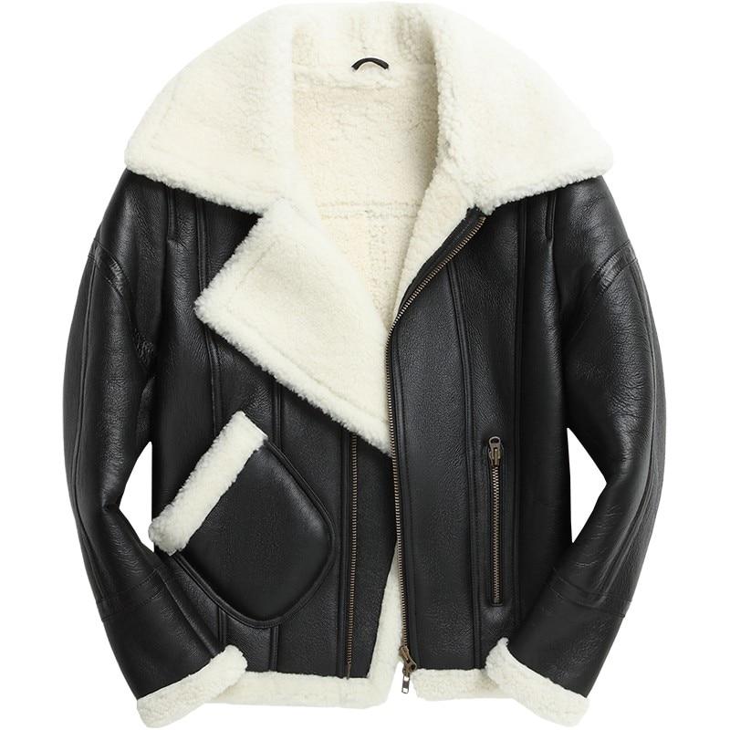 Euro Men Runway Motor Biker Genuine Leather Jacket Real Fur Lining Shearling Winter Boyfriend Punk Coat Lapel Collar Streetwear