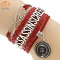 Assassins Creed Multilayer Trançado Pulseiras Vintage pulseira, Multicolor tecido pulseira de couro & Bangle